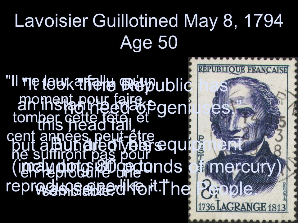 Lavoisier Guillotined May 8, 1794 Age 50