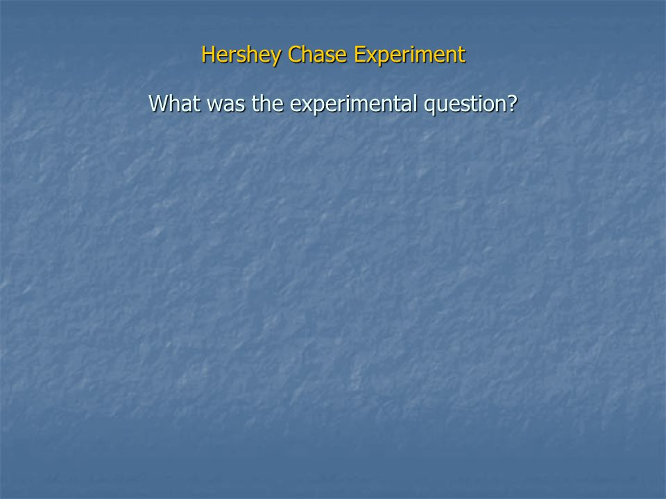 Hershey Chase Experiment What was the experimental question