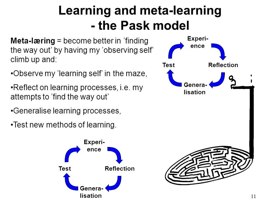 Learning and meta-learning - the Pask model