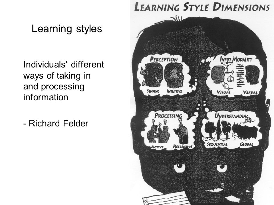 Learning styles Individuals' different ways of taking in and processing information.
