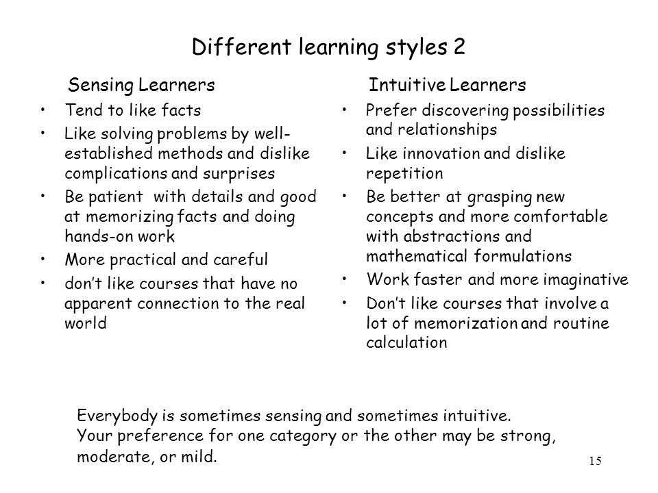 Different learning styles 2