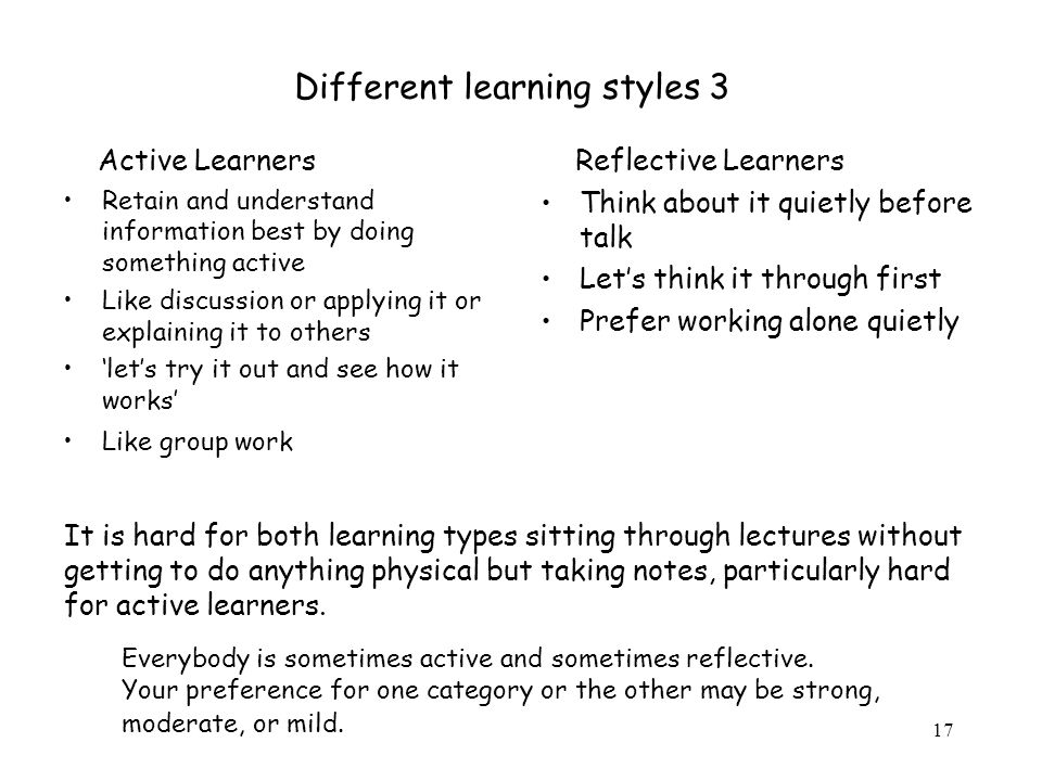 Different learning styles 3
