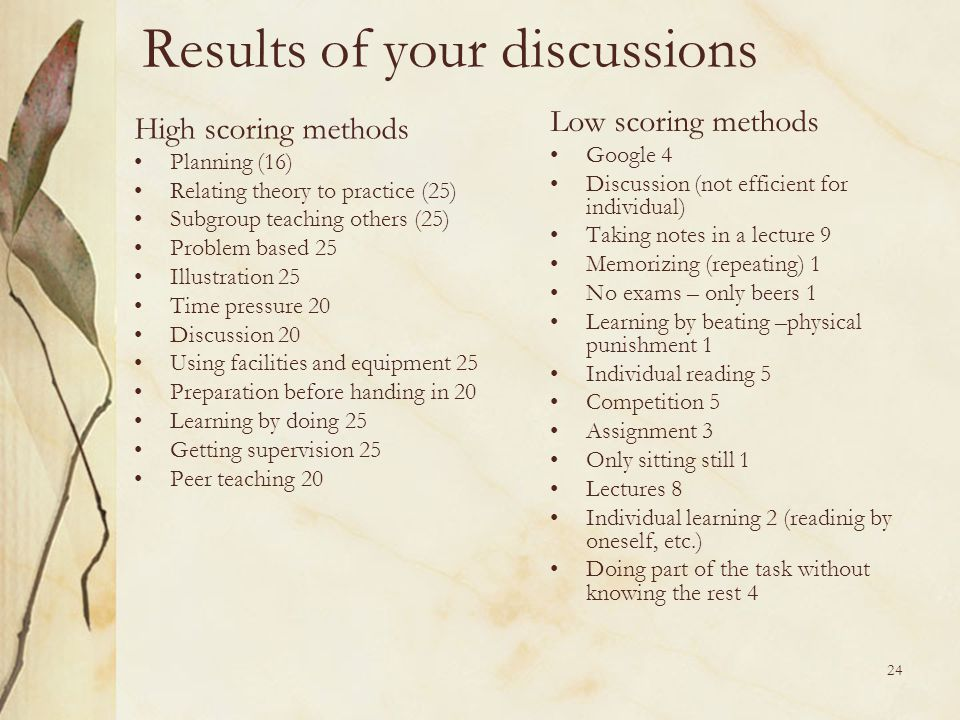 Results of your discussions