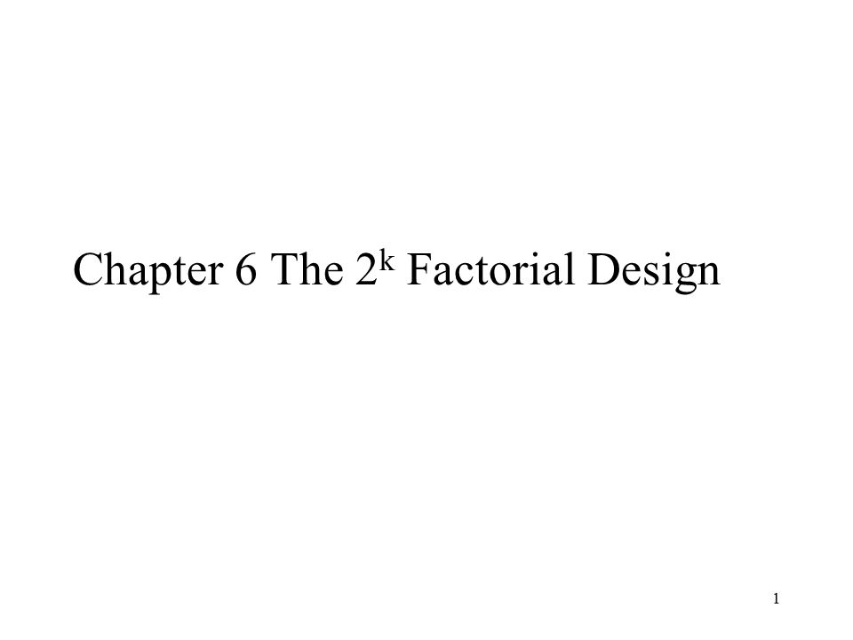 Chapter 6 The 2k Factorial Design