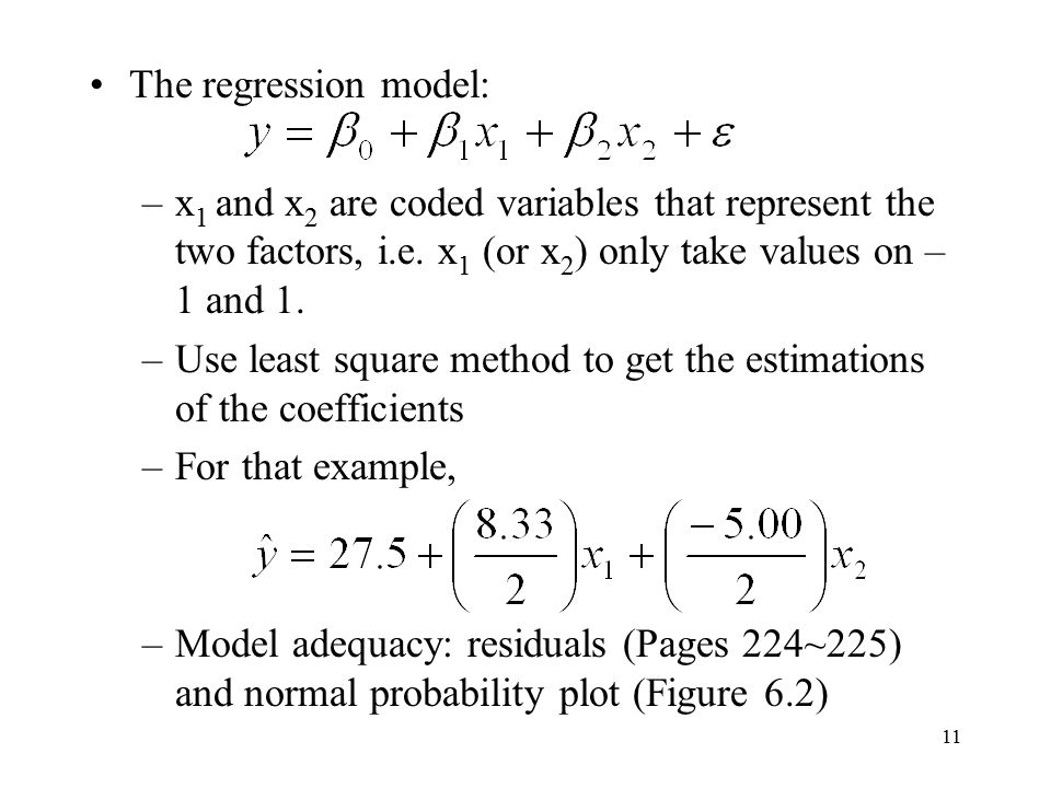 The regression model: x1 and x2 are coded variables that represent the two factors, i.e. x1 (or x2) only take values on –1 and 1.