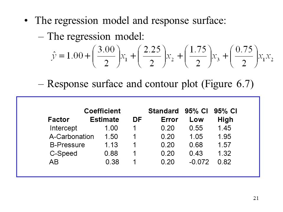 The regression model and response surface: The regression model: