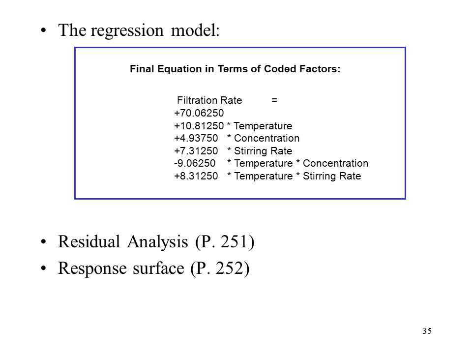 The regression model: Residual Analysis (P. 251)