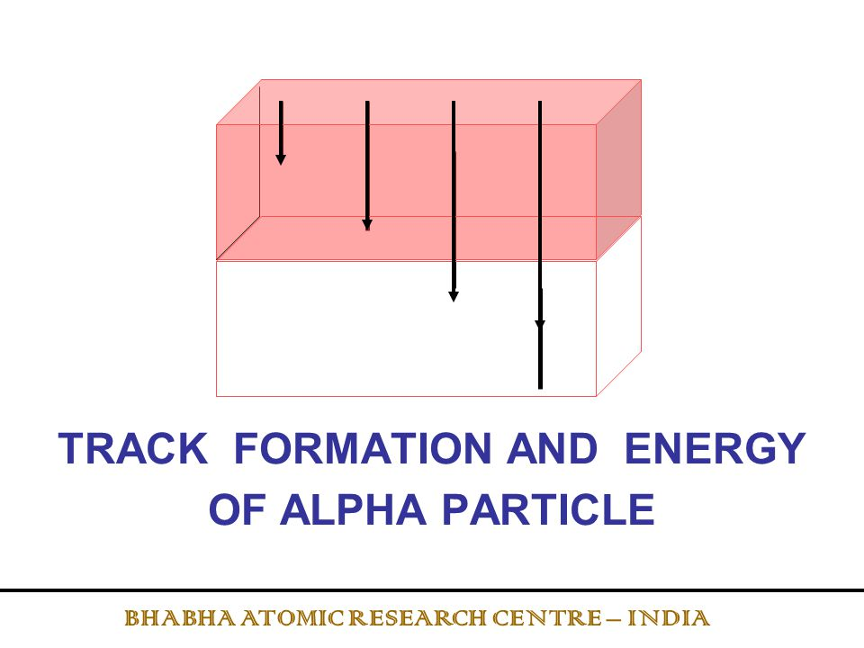 TRACK FORMATION AND ENERGY OF ALPHA PARTICLE