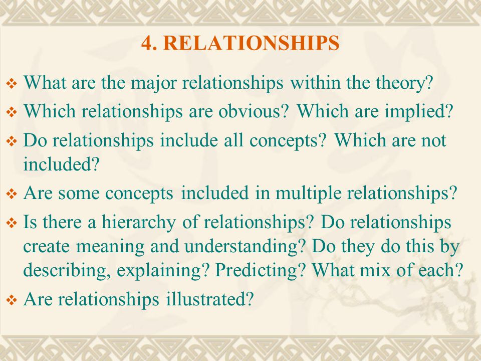 4. RELATIONSHIPS What are the major relationships within the theory