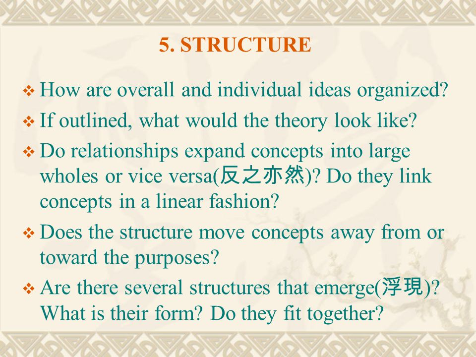 5. STRUCTURE How are overall and individual ideas organized If outlined, what would the theory look like
