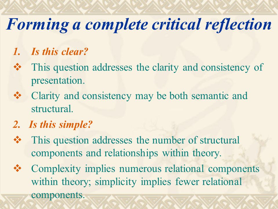 Forming a complete critical reflection