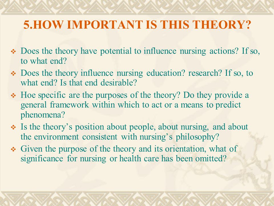 5.HOW IMPORTANT IS THIS THEORY