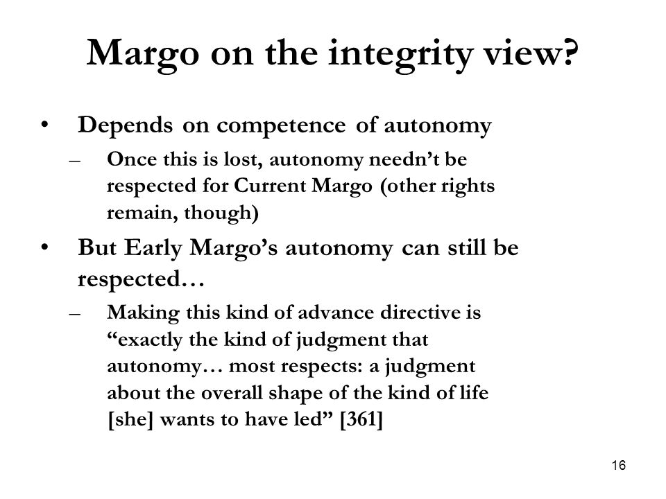Margo on the integrity view