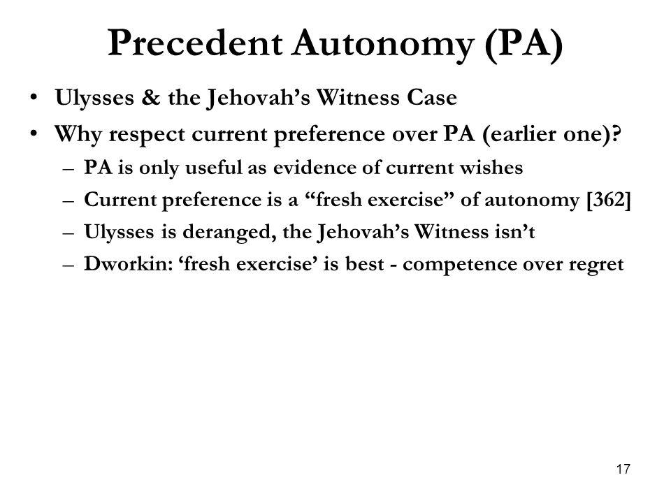 Precedent Autonomy (PA)
