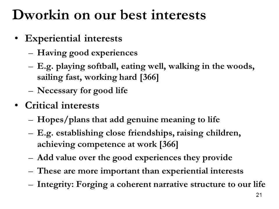 Dworkin on our best interests