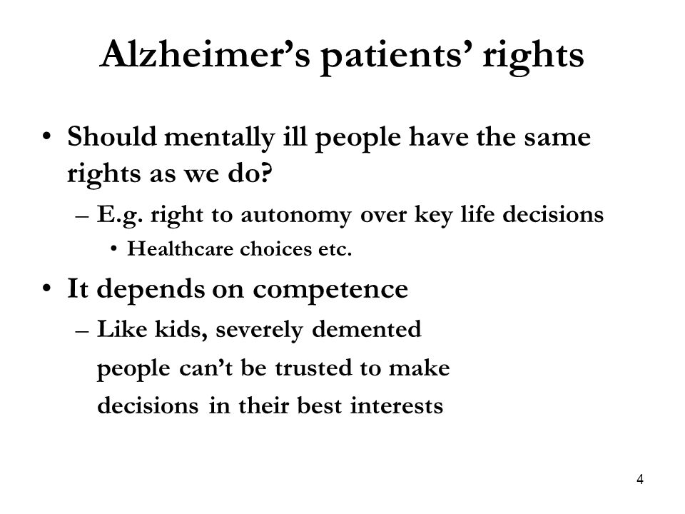 Alzheimer's patients' rights