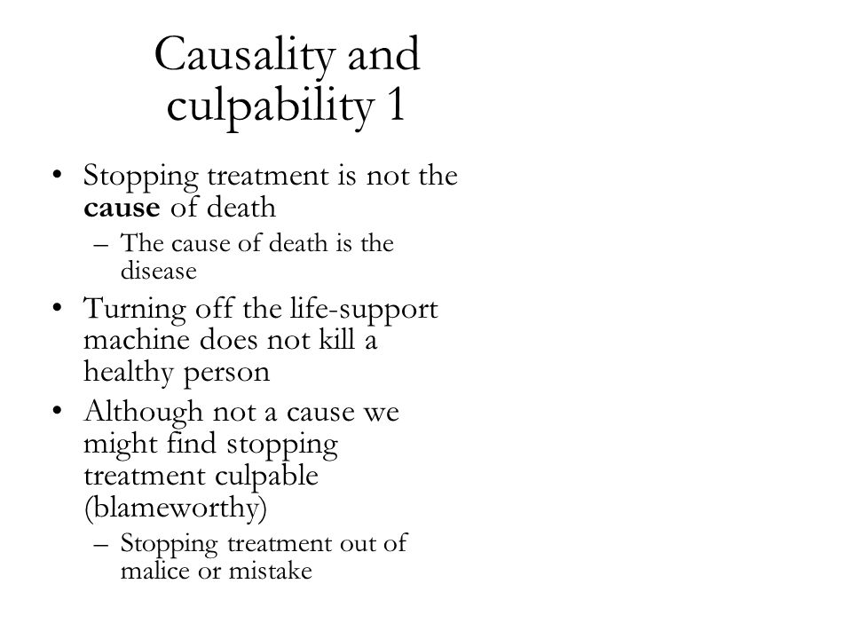 Causality and culpability 1