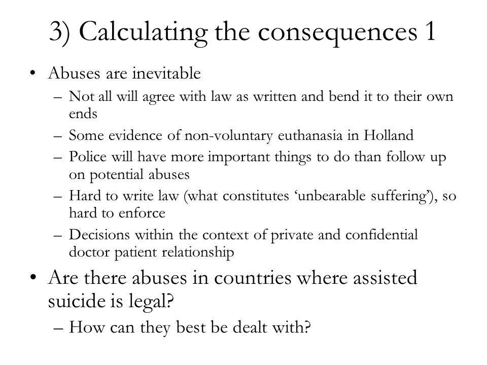 3) Calculating the consequences 1