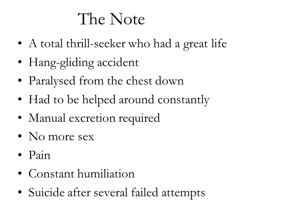 The Note A total thrill-seeker who had a great life