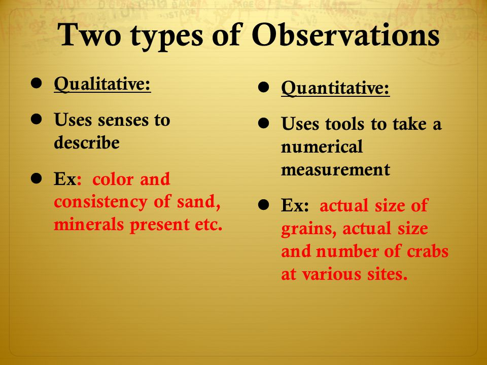 Two types of Observations