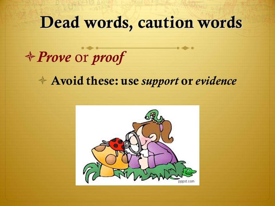 Dead words, caution words