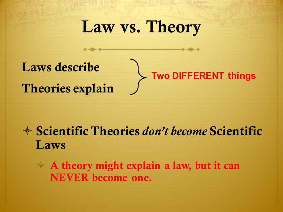 Law vs. Theory Laws describe Theories explain