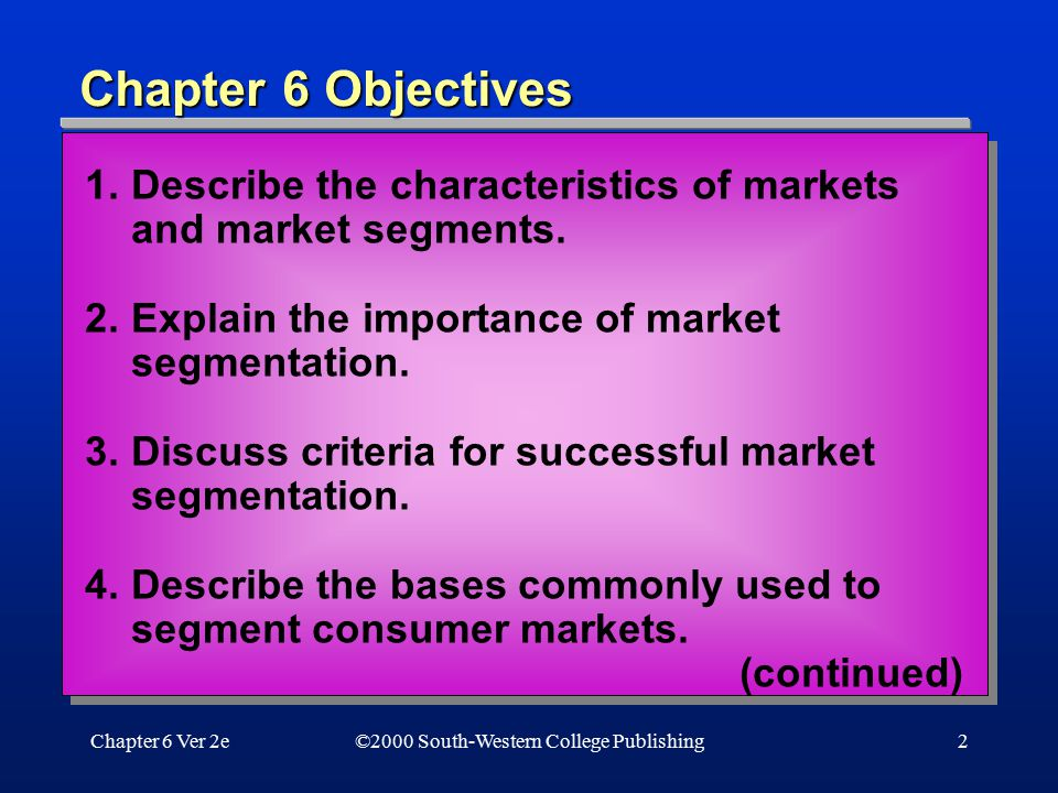 Chapter 6 Objectives 1. Describe the characteristics of markets and market segments. 2. Explain the importance of market segmentation.