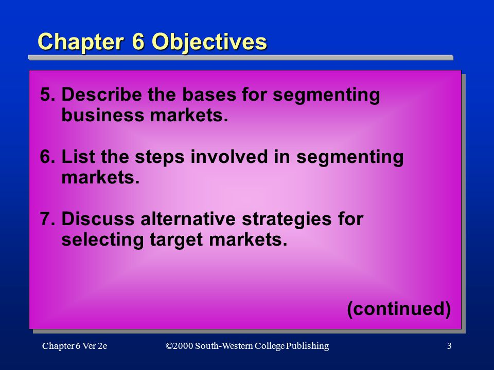 Chapter 6 Objectives 5. Describe the bases for segmenting business markets. 6. List the steps involved in segmenting markets.