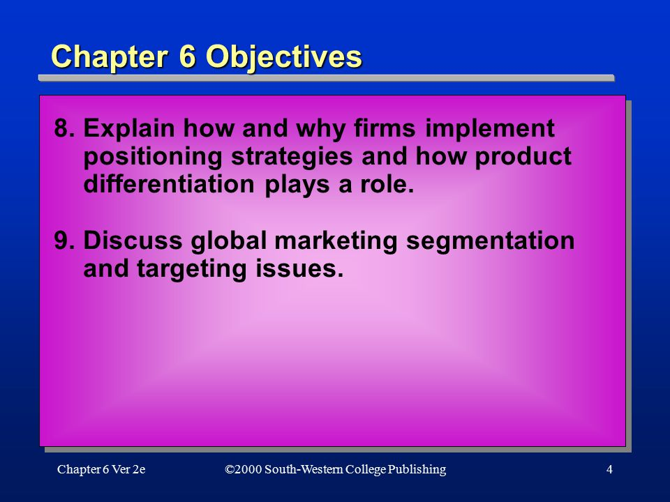 Chapter 6 Objectives 8. Explain how and why firms implement positioning strategies and how product differentiation plays a role.