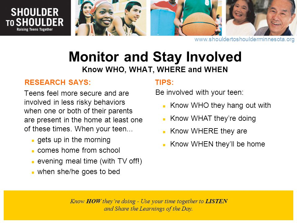 Monitor and Stay Involved Know WHO, WHAT, WHERE and WHEN