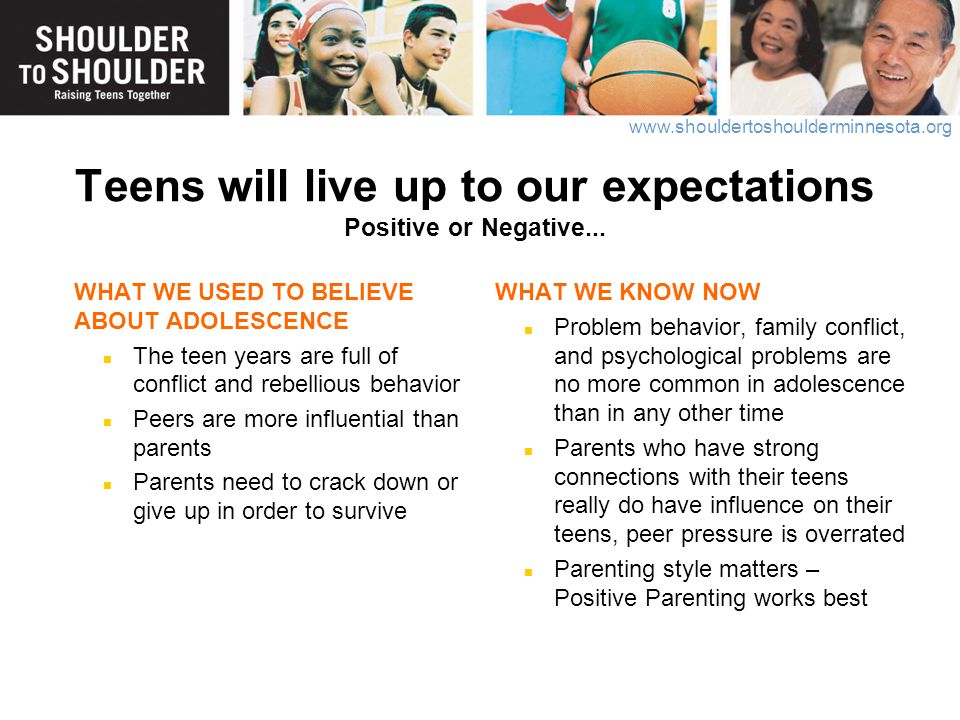 Teens will live up to our expectations Positive or Negative...