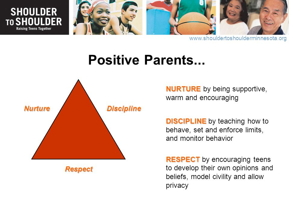 Positive Parents... NURTURE by being supportive, warm and encouraging