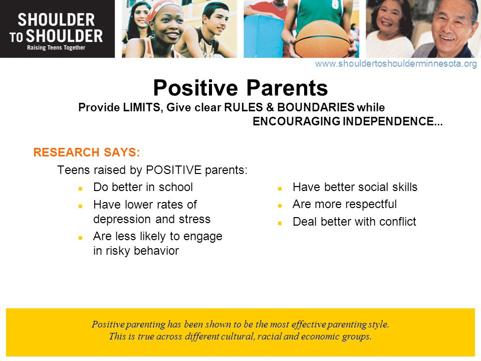 Positive Parents Provide LIMITS, Give clear RULES & BOUNDARIES while