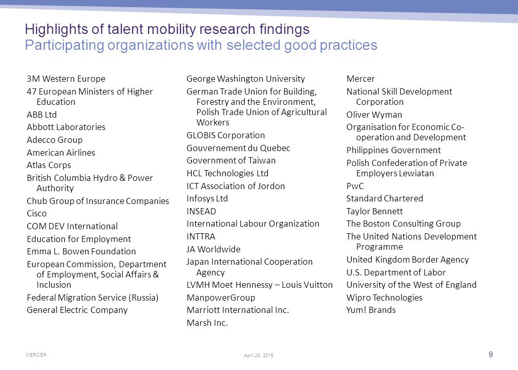 Highlights of talent mobility research findings Definition must expand to fit the new age of talent mobility