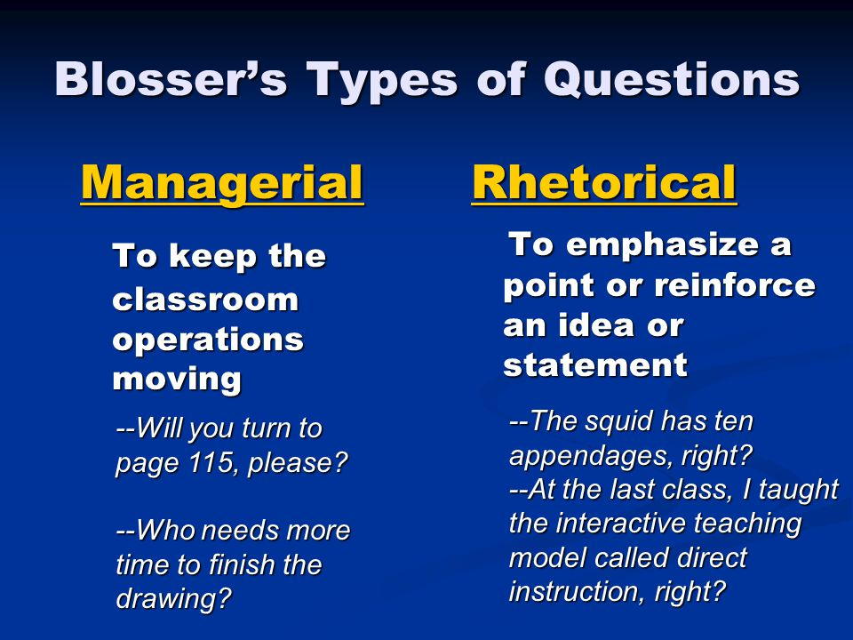 Blosser's Types of Questions