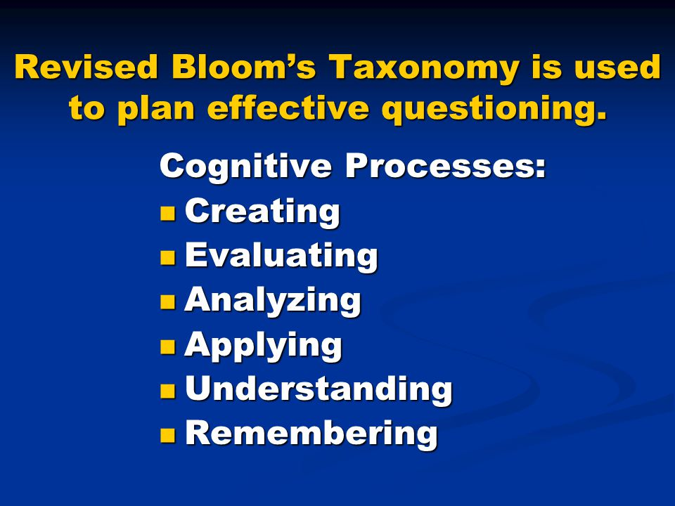 Revised Bloom's Taxonomy is used to plan effective questioning.