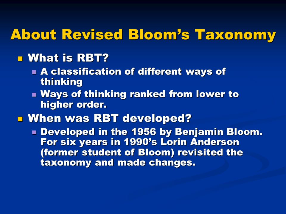 About Revised Bloom's Taxonomy