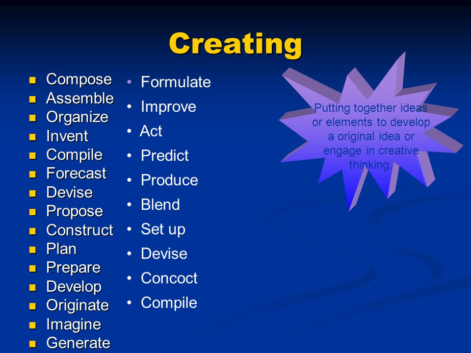 Creating Formulate Compose Assemble Improve Organize Act Invent