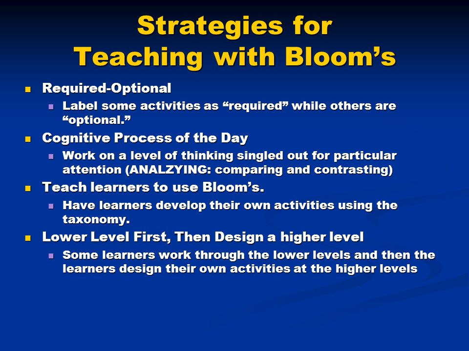 Strategies for Teaching with Bloom's