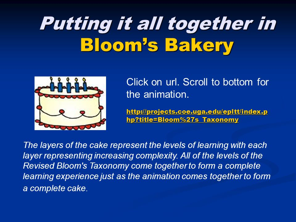 Putting it all together in Bloom's Bakery