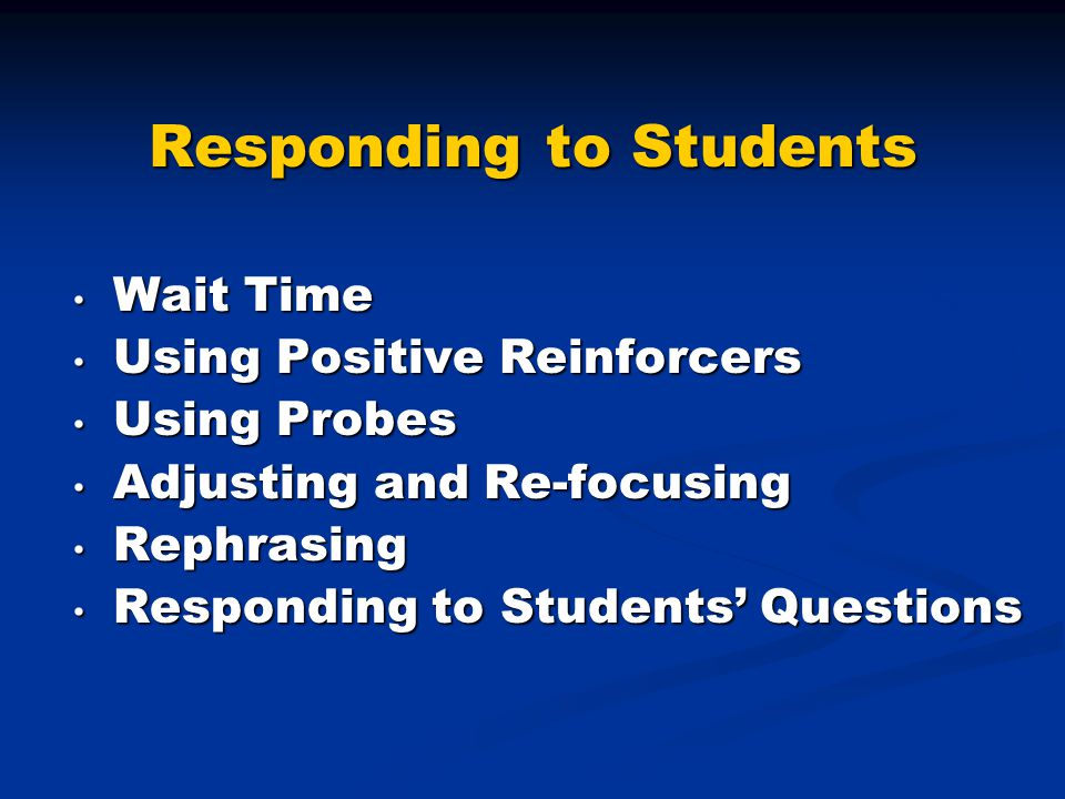 Responding to Students