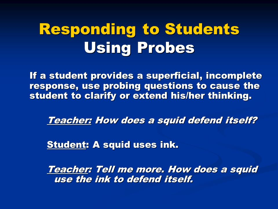 Responding to Students Using Probes