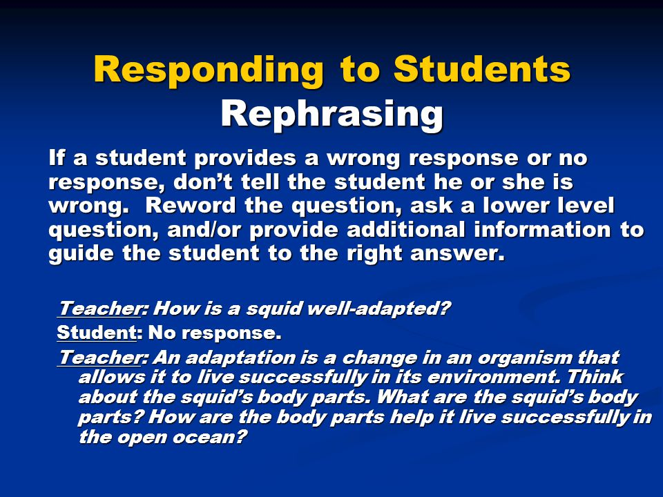 Responding to Students Rephrasing