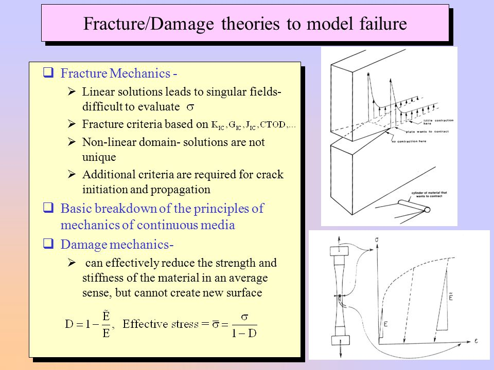 Fracture/Damage theories to model failure