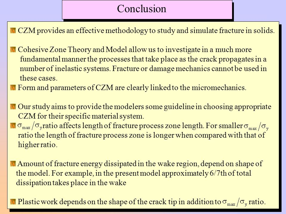 Conclusion CZM provides an effective methodology to study and simulate fracture in solids.
