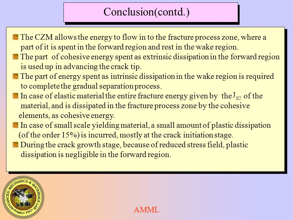 Conclusion(contd.) The CZM allows the energy to flow in to the fracture process zone, where a.