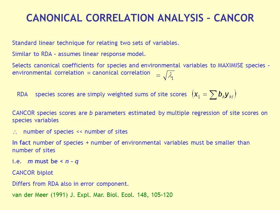 CANONICAL CORRELATION ANALYSIS – CANCOR
