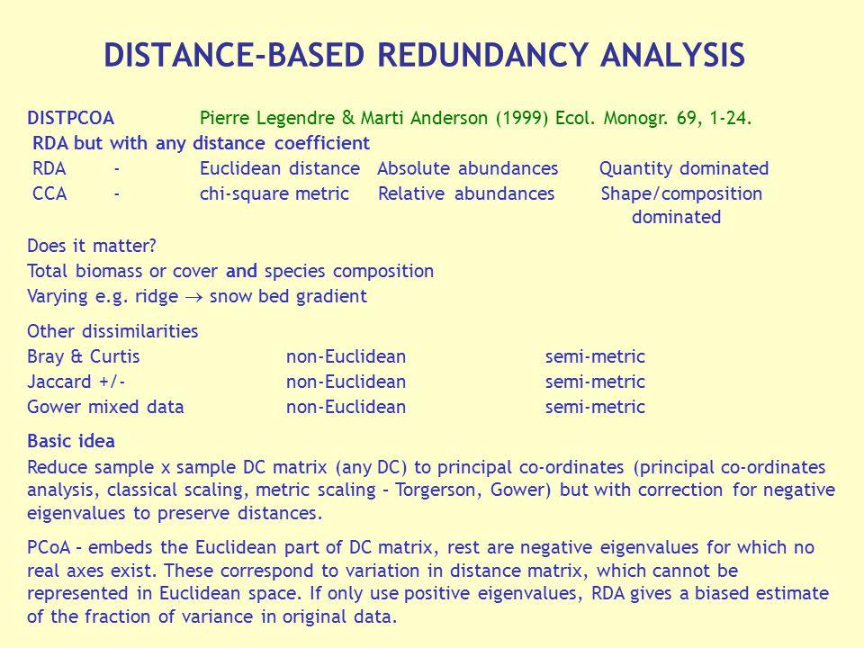DISTANCE-BASED REDUNDANCY ANALYSIS