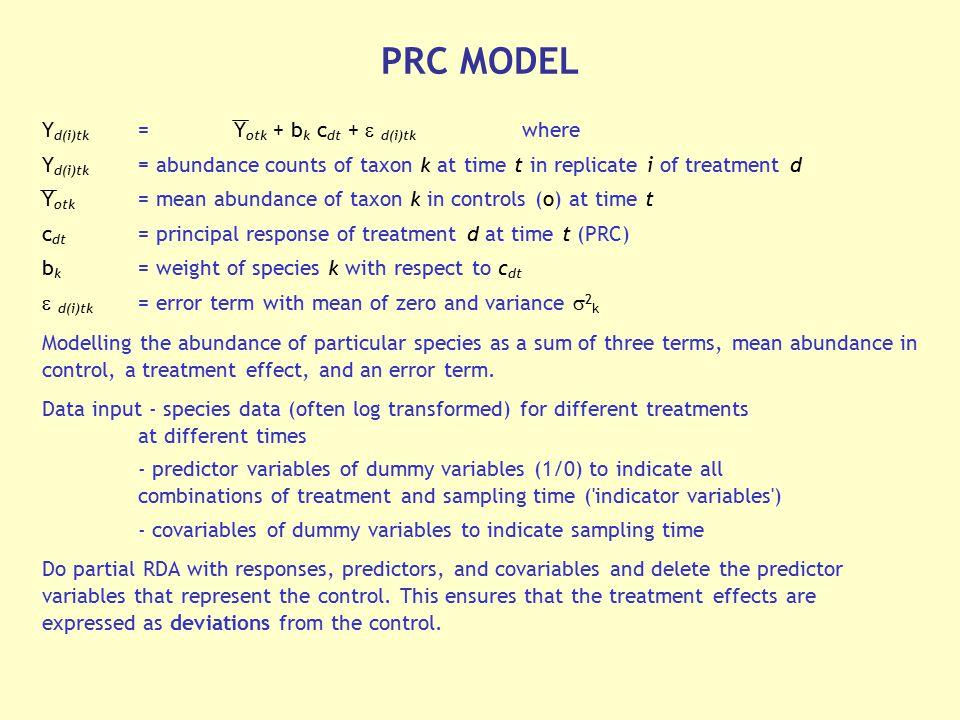 PRC MODEL Yd(i)tk = Yotk + bk cdt +  d(i)tk where