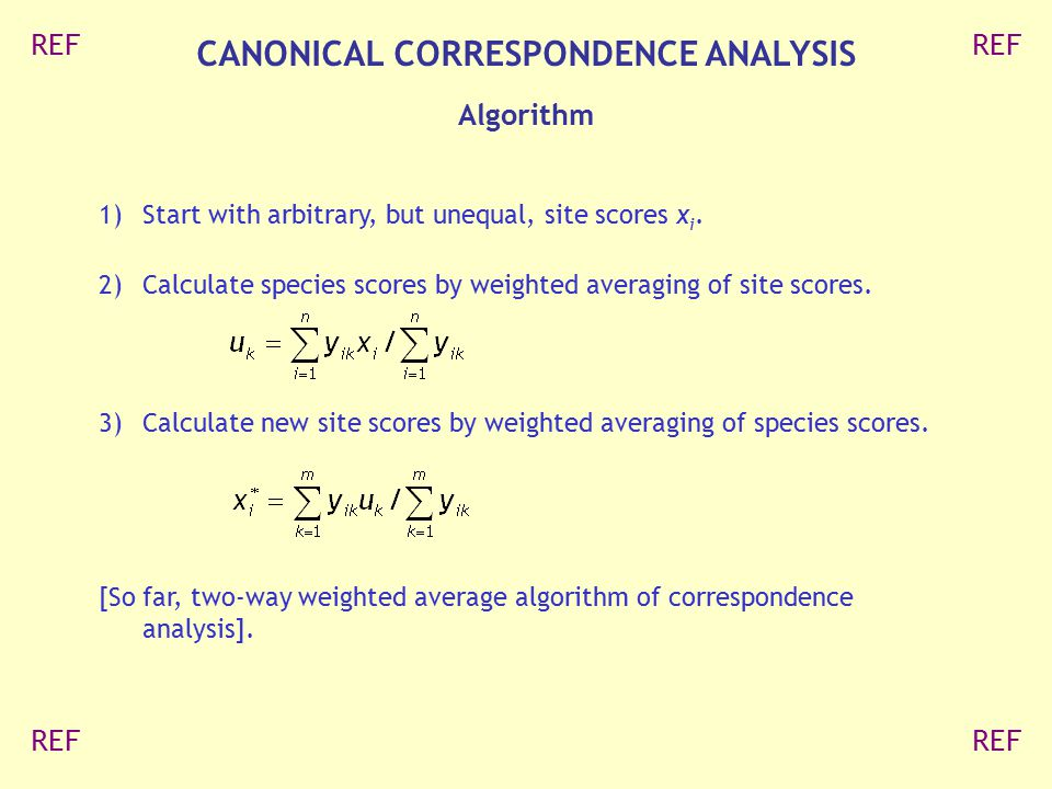 CANONICAL CORRESPONDENCE ANALYSIS
